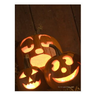Glowing jack-o'-lanterns 2 postcard