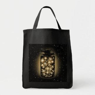 Glowing Jar Of Fireflies With Night Stars