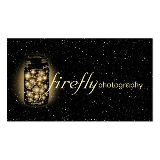 Glowing Jar Of Fireflies With Night Stars Black Business Cards