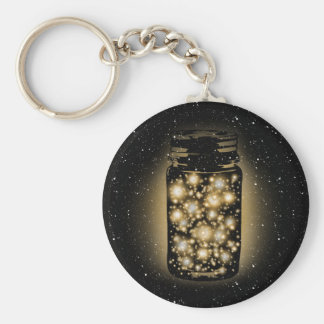 Glowing Jar Of Fireflies With Night Stars Keychain