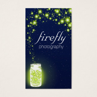 Glowing Jar Of Green Fireflies Blue Night Stars Business Card