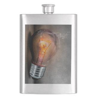 Glowing Light Bulb Cracked Glass Smoke Photo Hip Flask