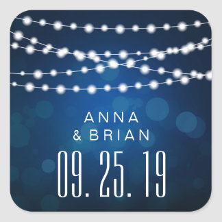 Glowing Light Strings on Deep Blue Bokeh Wedding Square Sticker