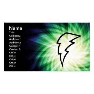 Glowing Lightning Bolt Business Cards