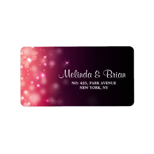 Glowing lights wedding address label