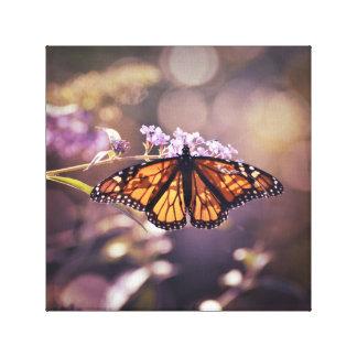 Glowing Monarch Butterfly Soft Purple Bokeh Canvas Print