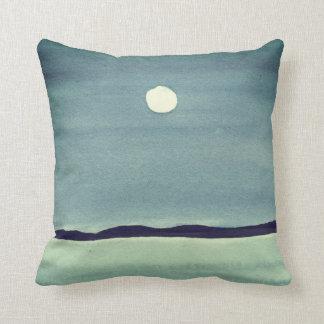 Glowing Moon Over Ocean Throw Pillow