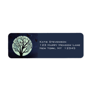 Glowing Moonlight with Old Tree and Crows Return Address Label