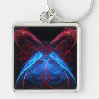 Glowing Neon Butterfly Flame Fractal Abstract Art Keychain
