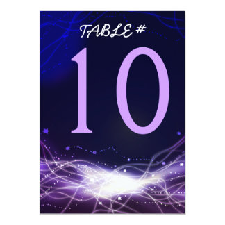 Glowing Neon Stars Bar Mitzvah Table Number Card