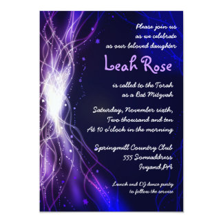 Glowing Neon Stars Bat Mitzvah Invitation purple