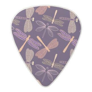 Glowing night dragonflies on dark plum background acetal guitar pick