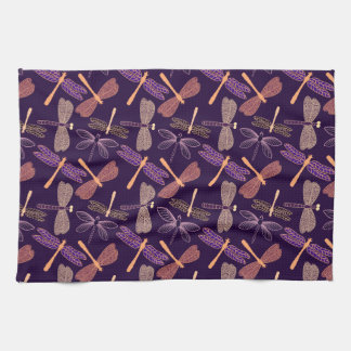Glowing night dragonflies on dark plum background kitchen towel