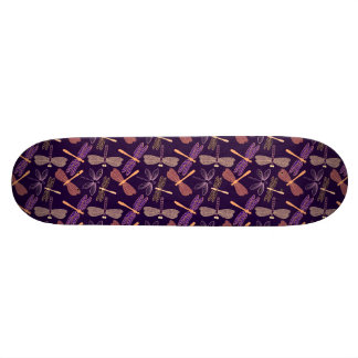 Glowing night dragonflies on dark plum background skate board deck