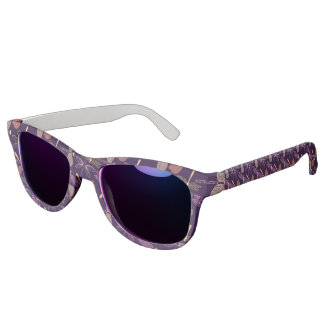 Glowing night dragonflies on dark plum background sunglasses