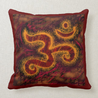 Glowing Om Pillow Fire Colors