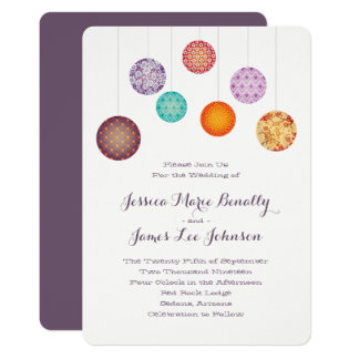 Glowing Paper Lanterns Wedding Plum Card