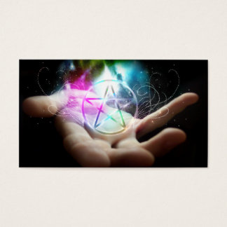 Glowing pentacle business cards