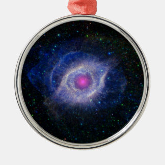 glowing pink eye nebula metal ornament