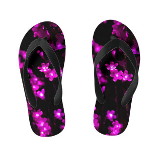 Glowing Pink Flower Lights Kid's Flip Flops