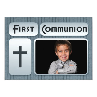 Glowing  Pinstripes First Communion Photo 5x7 Paper Invitation Card
