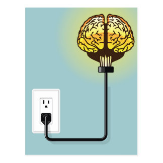 Glowing plugged in brain postcard