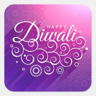 Glowing Purple flourishing ornament Happy Diwali Square Sticker