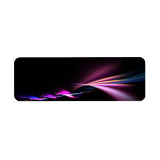 glowing purple fractal design return address label