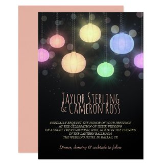 Glowing Rainbow Lanterns Wedding Invitation