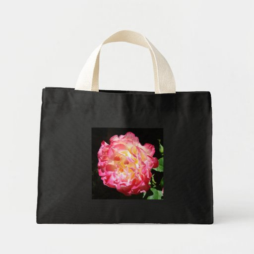 Glowing Rose Flower Pink Tote Bags gifts
