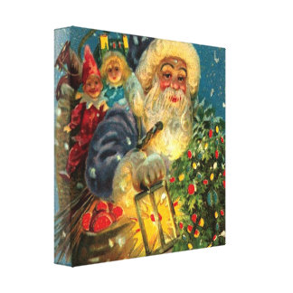 Glowing Santa Claus Christmas Art Wrapped Canvas Gallery Wrapped Canvas