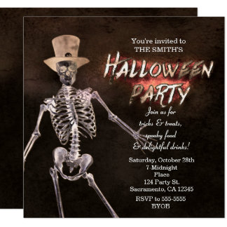 Glowing Skeleton Halloween Party Invitations