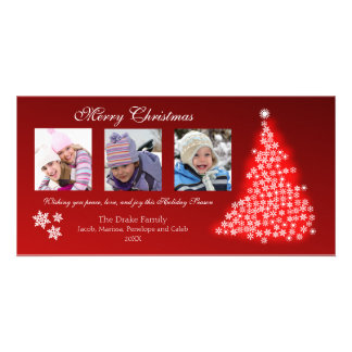 Glowing Snowflake Tree Photocard (red) Card