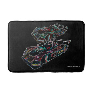 Glowing Sparkling Racing Luxury Neon Colors Cars Bath Mat