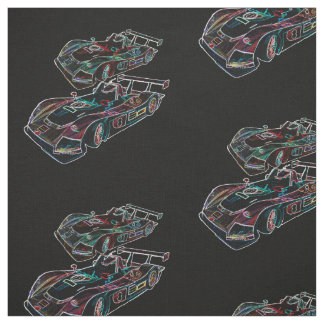 Glowing Sparkling Racing Luxury Neon Colors Cars Fabric