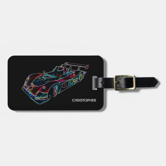Glowing Sparkling Racing Luxury Neon Colours Car Luggage Tag