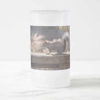 Glowing Squirrel Frosted Glass Beer Mug