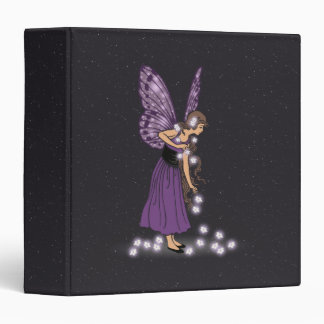 Glowing Star Flowers Pretty Purple Fairy Girl 3 Ring Binder