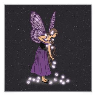 Glowing Star Flowers Pretty Purple Fairy Girl Photo