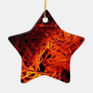 Glowing steel wool ceramic star ornament