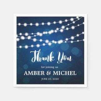 Glowing String Lights Deep Blue Custom Wedding Disposable Napkin