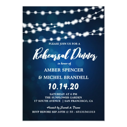 Glowing String Lights Deep Blue Rehearsal Dinner Card
