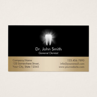 Glowing Tooth Black & Gold Dental Care Appointment Business Card