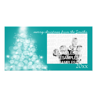 Glowing Tree Annual Family Christmas Card Photo Card Template