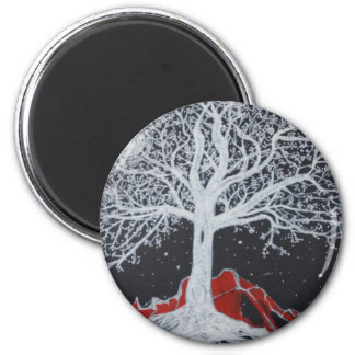 Glowing tree of life on a black background 2 inch round magnet