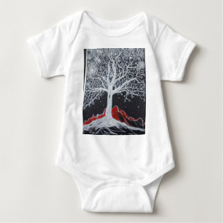Glowing tree of life on a black background baby bodysuit