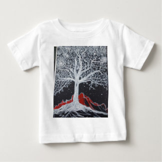 Glowing tree of life on a black background baby T-Shirt