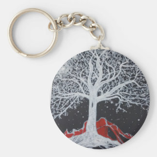 Glowing tree of life on a black background basic round button keychain