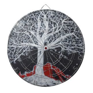 Glowing tree of life on a black background dart board