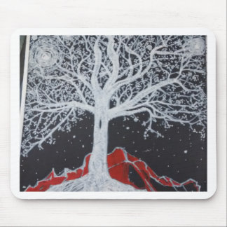 Glowing tree of life on a black background mouse pad
